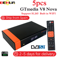 5Pcs/lot Gtmedia V8 NOVA same as free sat V9 SUPER V8 super DVB S2 satellite TV receiver Builtin wifi support H.265, AVS TV Box