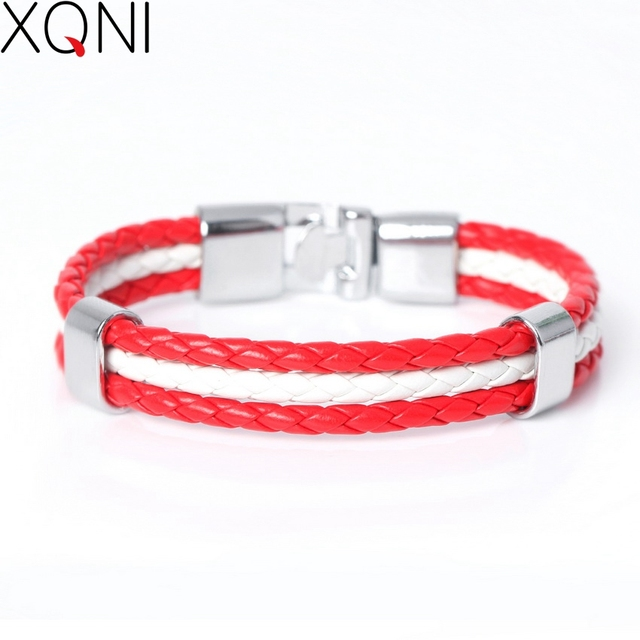 2017 New Fashion National Spain Flag ID Leather Bracelet Trendy Braided Surfer Bandage Charm Sporty Bracelets For Men Women
