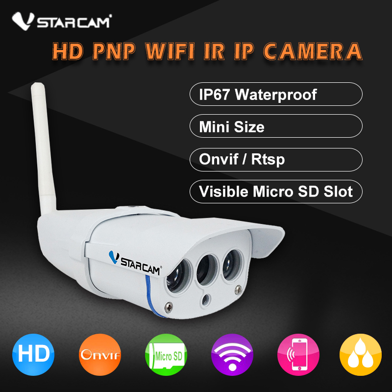 VStarcam C7816WIP Waterproof  720P HD Wireless IR-Cut Memory Wifi Webcam CCTV Outdoor IP Camera And Support 64G TF Card vstarcam c7816wip onvif hd 720p wireless p2p ir cut night vision tf card slot outdoor waterproof network wifi cctv ip camera