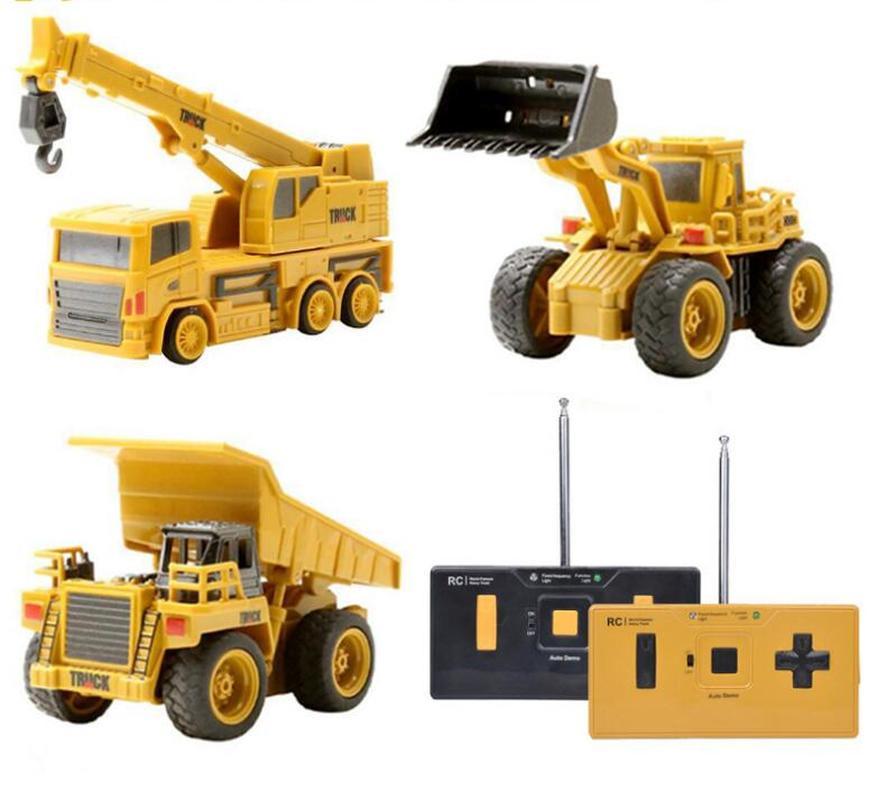 1: 64 Afstandsbediening Speelgoed Mini Rc Constrction Vrachtwagen Auto Tractor Trattore Graafmachine Bulldozer Crane Speelgoed Cadeau Voor Kinderen Pure Witheid