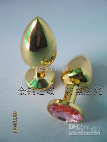 Wholesale - small size Gold Butt Plug with Ruby Gem /Metal Anal Toys/Sex Toys/Anal Plug/butt plug with jewelry