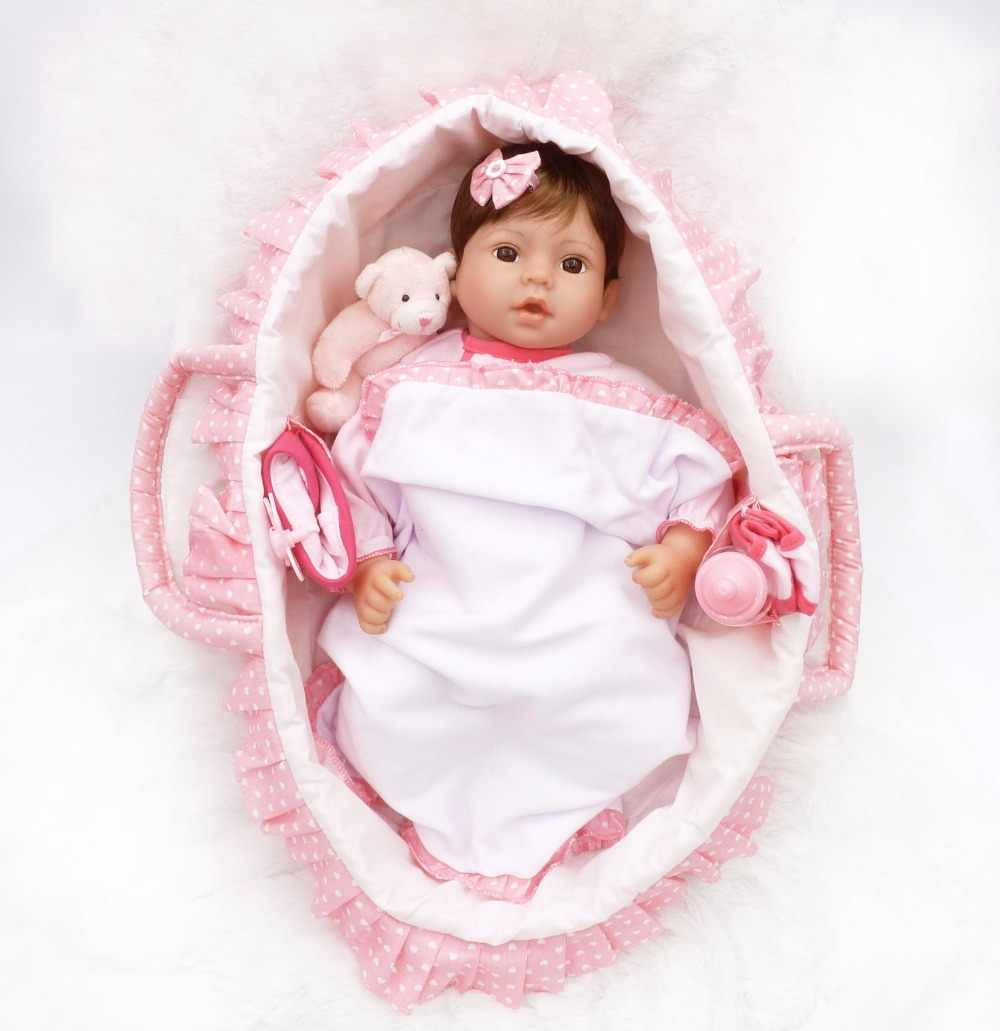 "Juego de lujo de silicona reborn baby dolls con cesta para dormir botella de chupete 17 ""41 cm bebé niña reborn muñecas"