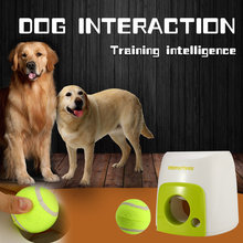 Dog Pet Toys Automatic Ball Launcher Interactive Pet Ball Emission Tennis with Throwing Machine Pet Balls Throw Device(China)