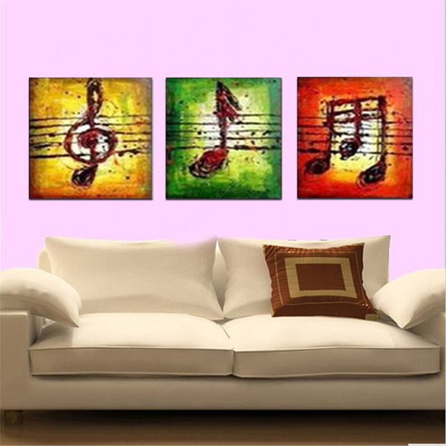 100%Hand Painted 3 pcs/set Abstract Art Music Landscape Wall Oil ...