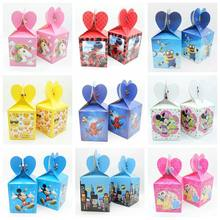 12 Pcs/lot PRINCESS/Superhero/Minnie/Mickey/Unicorn/Avengers Kotak Permen Anak-anak Ulang Tahun Kotak Hadiah Pesta perlengkapan Dekorasi(China)