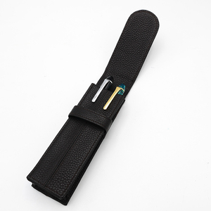 Image 3 - Wancher Two pen packed Kraft pen bags separated by two sided leather of pure color stationery case