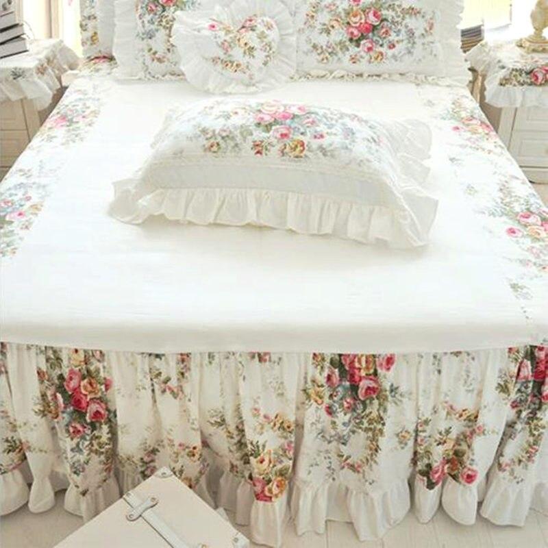 Rustic Flower Print Ruffle Bedspread Thicken 100% Satin Cotton Patchwork Bedspread Bed Sheet Handmade Coverlet Queen Bed Skirt