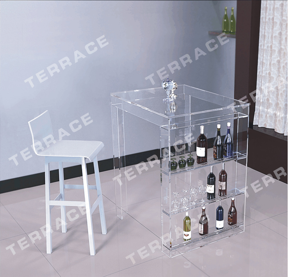 ... (FREE SHIPPING)Lucite Mini Bar Table With Wine Rack,Modern Acrylic Pub  Tables ...