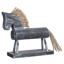 Vintage Design Wooden Horse Crafts With Rope Creative Hobbyhorse Home Decoration Retro Wood Ornaments High Quality