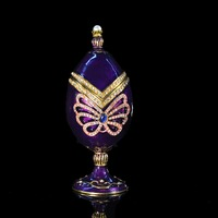 Qifu Handicraft beautiful violet faberge eggs collection for jewelry box