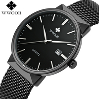 WWOOR Men Waterproof Quartz Sport Watches Men Top Brand Luxury Black Clock Male Casual Steel Strap