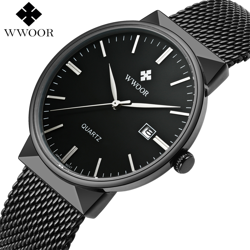 Top Brand Luxury Men Waterproof Sports Watches Men Quartz Date Clock Male Black Strap Casual Wrist Watch WWOOR relogio masculino wwoor waterproof ultra thin date clock male stainess steel strap casual quartz watch men wrist sport watch 3 colors