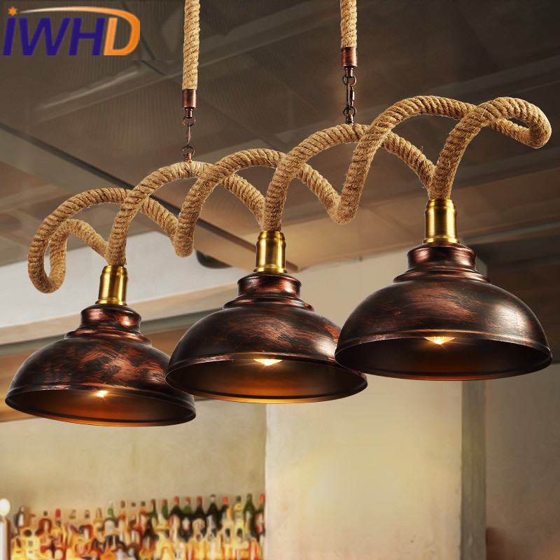 IWHD Iron Vintage Lamp Loft Industrial Pendant Light Fixtures American Style Hemp Rope Hanging Lights Home Lighting Lamparas new loft vintage iron pendant light industrial lighting glass guard design bar cafe restaurant cage pendant lamp hanging lights