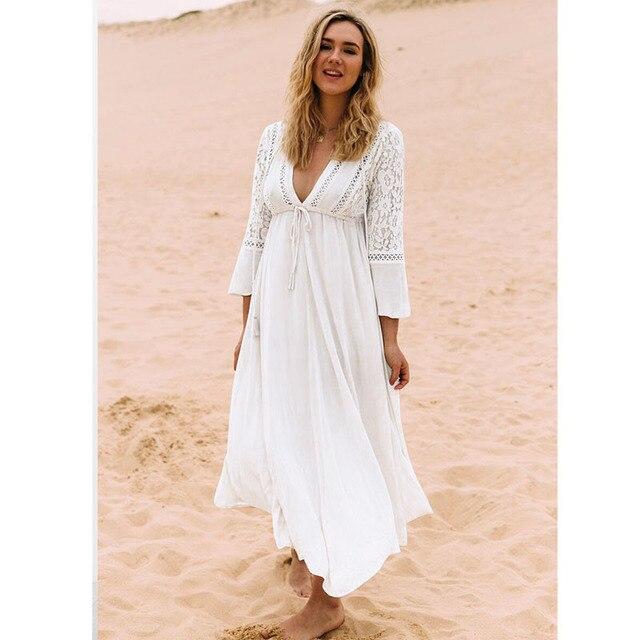 bb6bcae9c63 Boho Beach Dress Tunic Maxi Womens Beachwear Dresses Long Beach Dresses  Summer White Lace Saidas De Praia Feminina 2019 Frocks