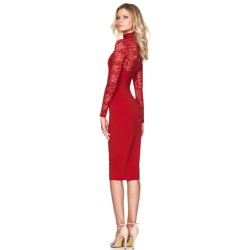 2018 Spring Summer New Dresses Women Long Sleeve Lace Sexy Elegant
