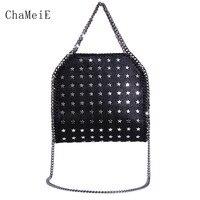 Newest 3 Chains Star Rivet Crossbody Bag Famous Brand Design Women Messenger Bag PVC Fold Over