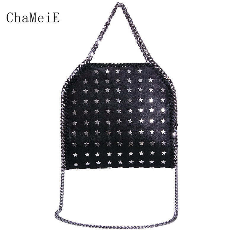 Newest 3 chains Star Rivet Crossbody Bag Famous Brand Design Women Messenger Bag PVC Fold Over Fashion Women Shoulder Bag цена