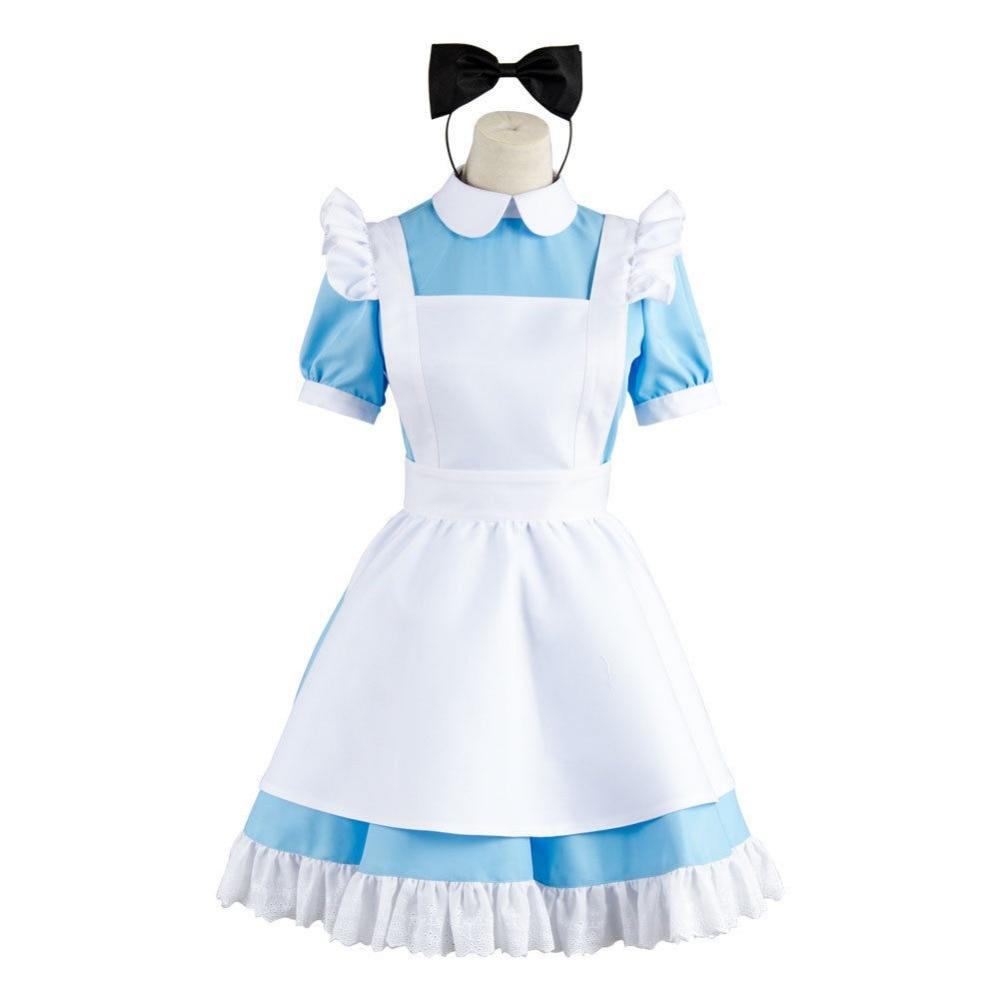 Alice in Wonderland Maid Adult Women Cosplay Costume Lolita Blue Apron Dress Halloween Party Headwear