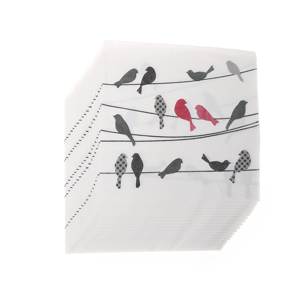 20pcs/lot Modern Simple Bird Soft Healthy Decoupage Napkins Paper Party Decoration Baby Shower Party Wedding  Decor Supplies