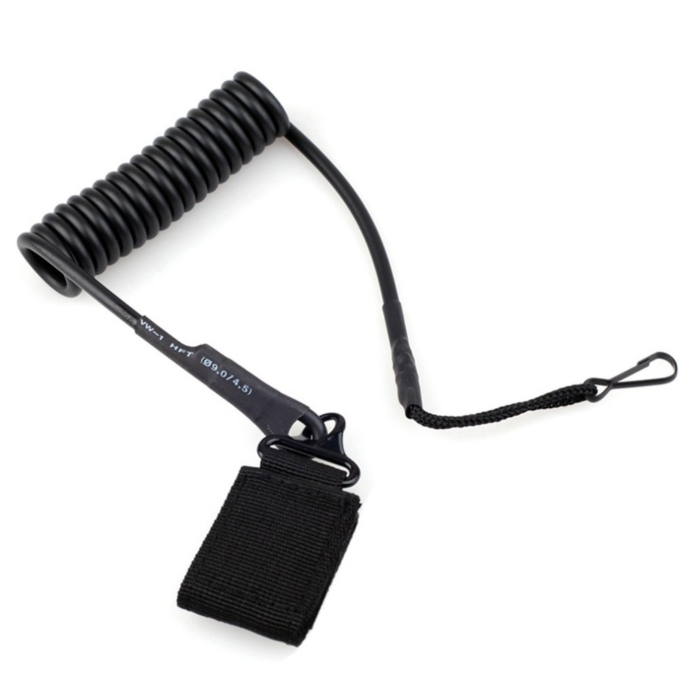 Multipurpose Fastener Molle Tactical Pistol Lanyard Coiled Wire Secure Sling Military Pistol Quick Release Control Leads Rope