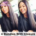 Peerless Peruvian Virgin Hair Straight With Closure 4 Bundles Peruvian Straight Hair With Closure Sale Human Weave With Closure