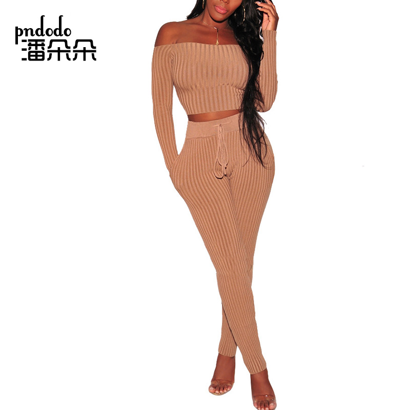 Pndodo PLUS SIZE Women Set Clothing Ribbed Knitted Strapless Two Piece Pants Long Sleeve Off Sholder Summer Crop Top 2 Pcs Set