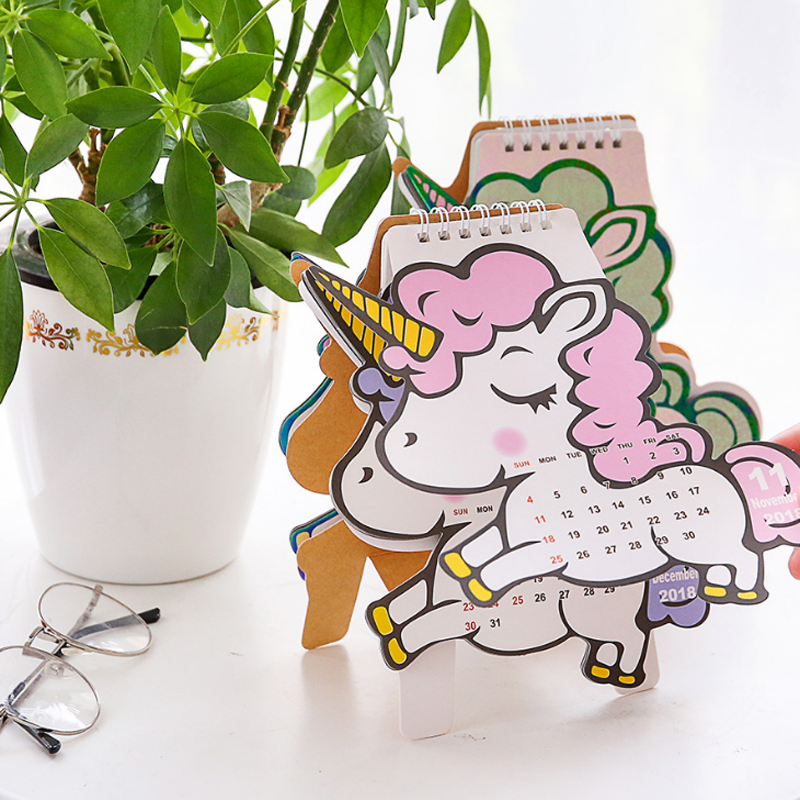 1 Pcs Cute 2019 Unicorn Flamingo Pig Cherry Blossoms Mini Table Calendars Desk Calendar Stationery School Supplies