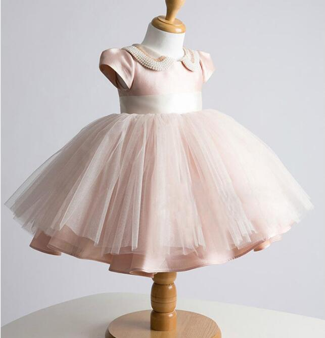Actual Picture Pearl collar Baby Girl Dress Baptism Dress for Girl Infant 1 Year Birthday Dress for Baby Girl Christening Dress baby girl dress baptism dress for girl infant 1 year birthday dress for girls chirstening dress wholesale baby boutique clothing