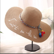 Hot sale Summer Floppy Letter Embroidery Straw HatsVacation Travel Wide Brimmed Sun Hats Foldable Beach Hats For Women