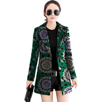 Womens Long Style Blazers Tailored Made Suit Jacket Ankara Print Dashiki Trench Coat Ladies Africa Outwear