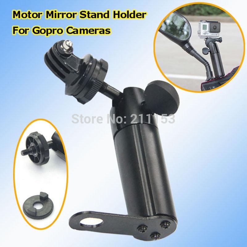 imágenes para Cabeza de bola de Metal Espejo de La Motocicleta Del Sostenedor Del Soporte para SJ4000 Deporte cámara digital cámara gopro hero 1 2 3 scooter ajustable montaje