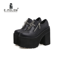 2019 Harajuku Boots women Thick Sole Shoes For Women Genuine Leather boots Punk Rivet Rock Round Toe