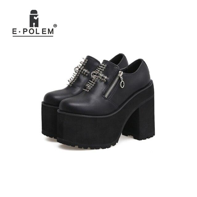 Shoes Harajuku Boots Thick Sole Boots Harajuku Shoes For Women Genuine Leather Punk Rivet Rock Harajuku Round Toe Martin Boots