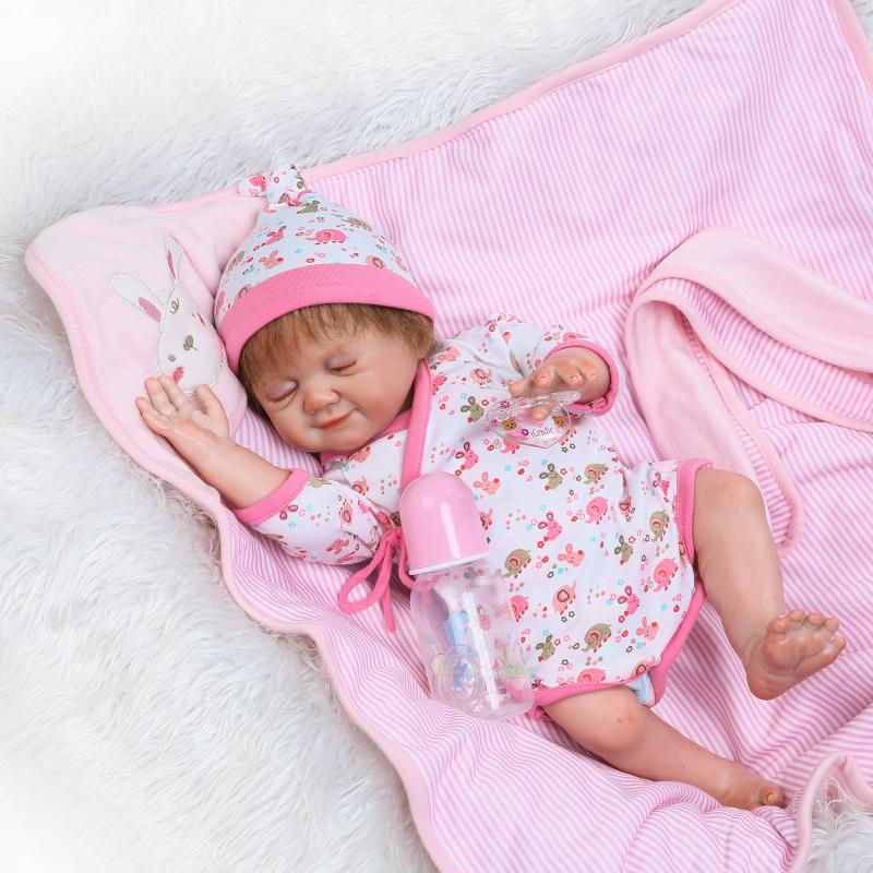 New Design Full Silicone Reborn Dolls 20 Lifelike Sleeping Newborn Girl Doll Reborn for Kids Bath Shower Play Toy Xmas Gifts new full silicone reborn dolls in pink clothes 20 lifelike newborn girl baby doll reborn for kids bath shower bedtime play toy