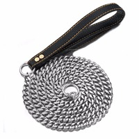15mm 525cm Silver stainless steel Dog Slip Leash Cuban Chain Dog Training Choke Collar Strong Traction Practical Chain Necklace