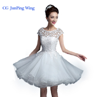 New 2015 White Short Wedding Dresses The Bride Sexy Lace Wedding Dress Bridal Gown White Vestido