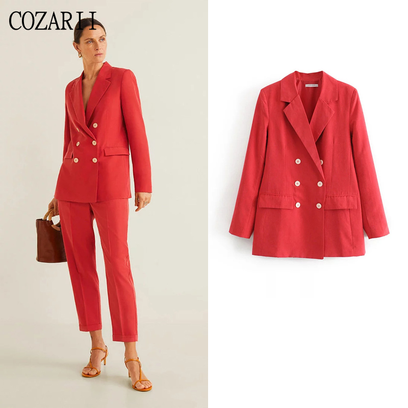 COZARII blazer mujer 2019 women solid notched collar pockets full sleeve double breasted casual style women blazers