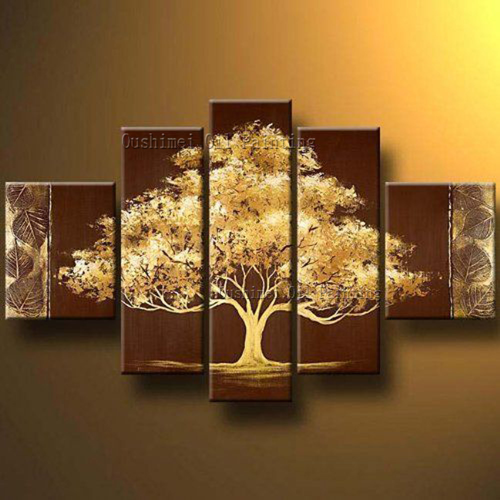 Best Wall Decoration High Quality Abstract Golden Tree Oil