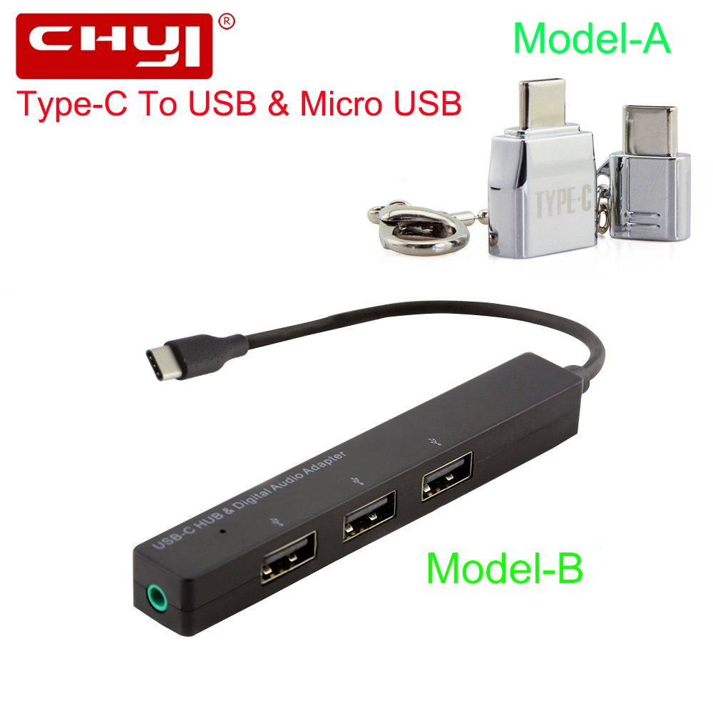 CHYI USB Type-C Hub USB-C To 3 Port USB2.0 + 3.5mm Audio Jack With Type C Splitter Adapter To Micro USB Kit For Phone Galaxy S8 micro usb to type c adapter micro usb otg type c to micro usb