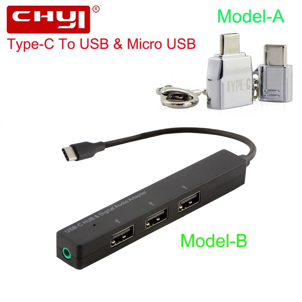 CHYI USB Tipo-C Hub USB-C Per 3 Porta USB2.0 + 3.5mm Audio Martinetti Con il Tipo C Splitter adattatore Per Micro USB Kit Per Il Telefono Galaxy S8