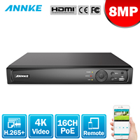 ANNKE 8MP 16CH POE Video Recorder 4K H.265+ NVR For POE 2MP 4MP 5MP 8MP IP POE Camera Home Surveillance Security Motion Detect