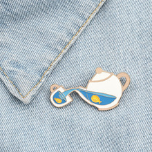Cartoon Fish Tea Pot Enamel Creative Pins Brooches for Men W