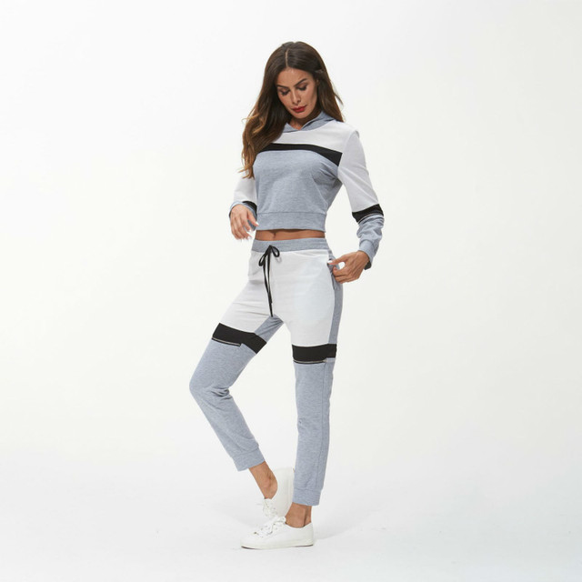 8151ece2f87 Survetement Femme 2 Piece Set Tracksuit Women Clothes 2018 Autumn Lady  Hooded Crop Top + Pants Sweat Suits Ropa Deportiva Mujer
