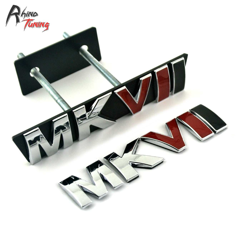 Rhino Tuning MKVII Car Emblem Auto Styling Front Grill Grille Badge MK Series Sticker For Golf MK7 MKVII 776 metal red st front grille sticker car head grill emblem badge chrome sticker for ford fiesta focus mondeo auto car styling
