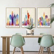 цена Canvas Paintings Nordic Scandinavian Office Wall Art Poster Picture for Living Room Home Decor Watercolor City New York онлайн в 2017 году