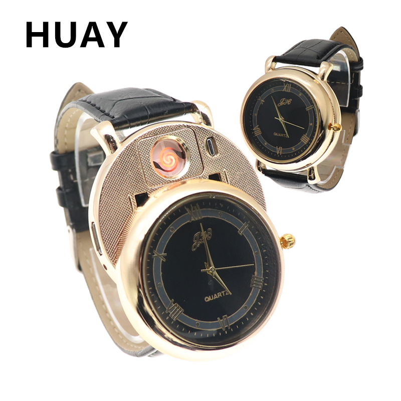 Watch Men Lighter Watches Fashion USB Charge Replace Heating Wire Flameless Cigarette Lighter Quartz Wristwatch Male Gift JH358