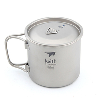 Keith Titanium Picnic Water Cup Mug Picnic Cookware No Scale No Tea Stains Bacteriostatic Function Ti3240 71g 350ml With Cover