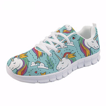 ThiKin New Design Girls Spring Mesh Flat Shoes Women Cartoon Unicorn Printing Breathable Sneakers Flats for Ladies