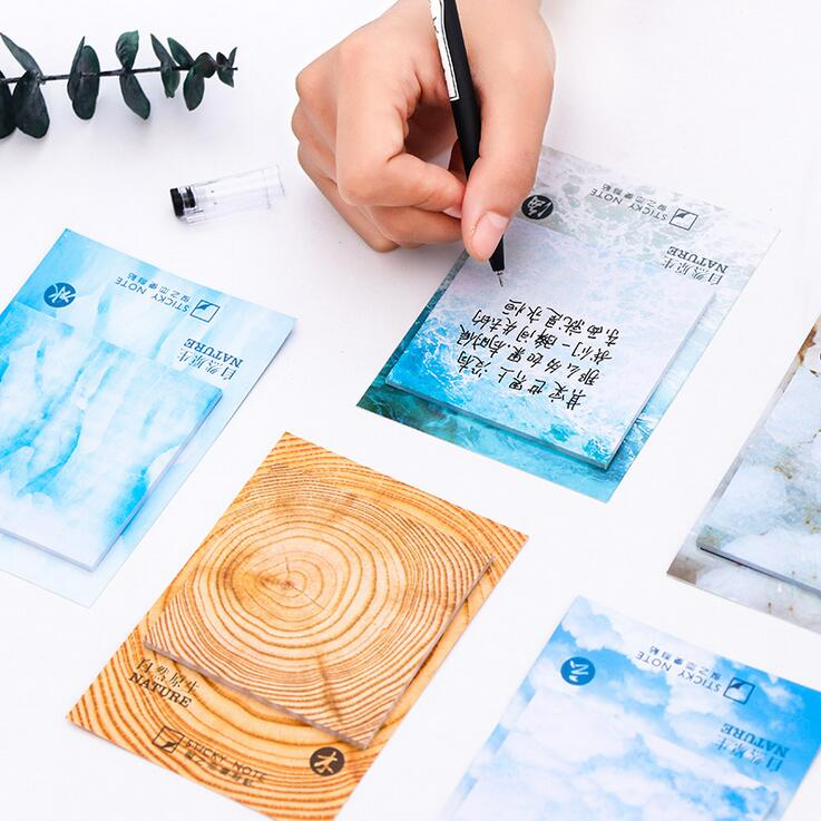 Nature Color Have Blue Grey Ice Self-Adhesive N Times Memo Pad Sticky Notes Bookmark School Office Supply