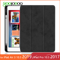For iPad Pro 10.5 Case with Pencil Holder for iPad Air 3 2019 Case, GOOJODOQ Ultra Slim Lightweight Cover for iPad Air 3 Case